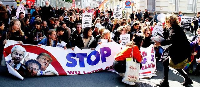 Energieke student walk-out tegen extreemrechts in Gent