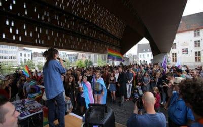Foto's van het protest tegen LGBTQI+foob geweld in Gent