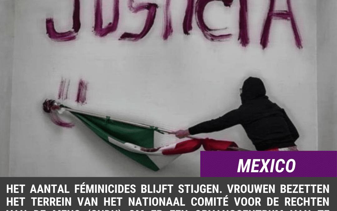 Mexico. Bezetting van het CNDH-gebouw, na een andere vrouwenmoord.